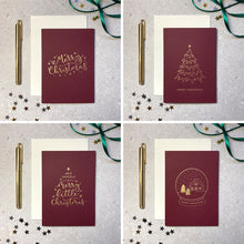 Load image into Gallery viewer, Mixed design 8 pack gold foil red Christmas cards