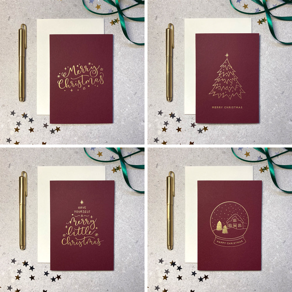Mixed design 8 pack gold foil red Christmas cards