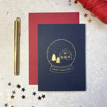 Load image into Gallery viewer, Mixed set of luxury foil Christmas cards (navy)