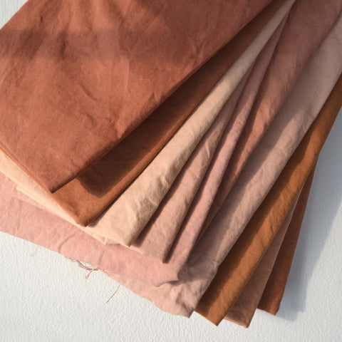 naturally dyed fabrics in a warm colorway