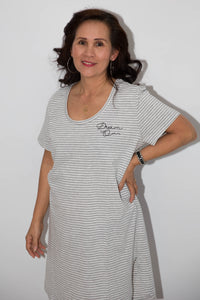 Women's Nightie - Grey Stripe