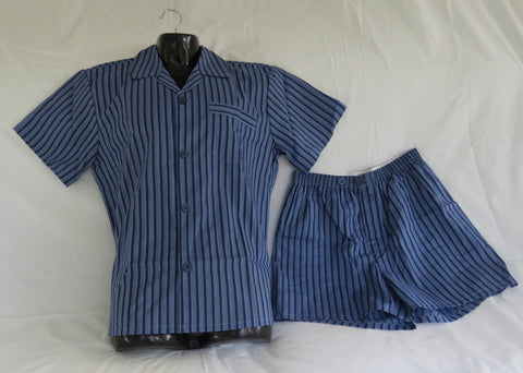 Men's Pyjamas -  Navy Stripe (Shorts)