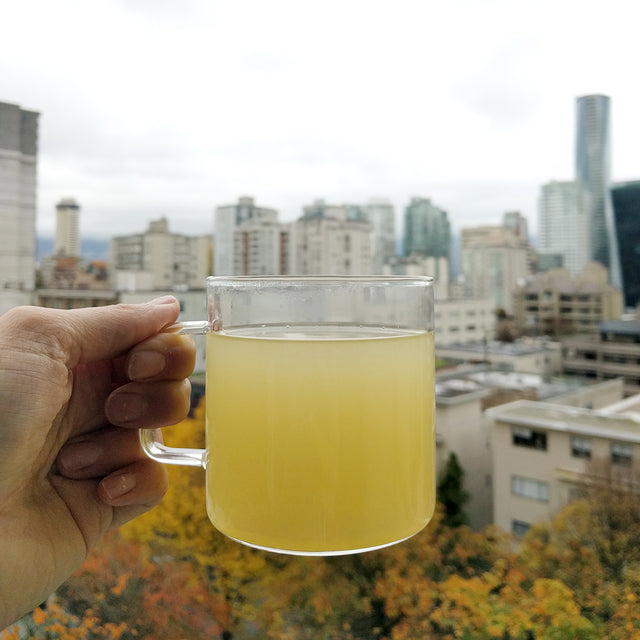 Ginger Tea made with fresh ginger juice, and lemon