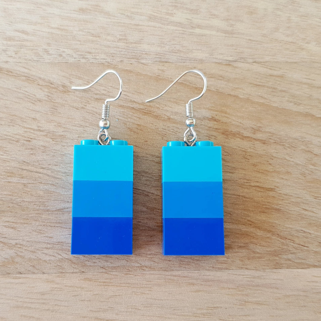 Shades of Blue brick earrings