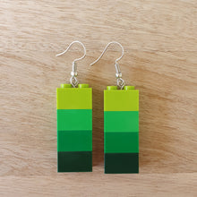 Load image into Gallery viewer, Shades of Green brick earrings