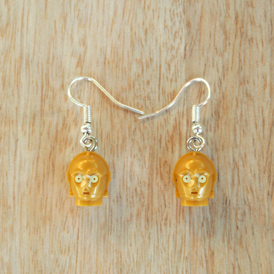 C-3PO droid head earrings