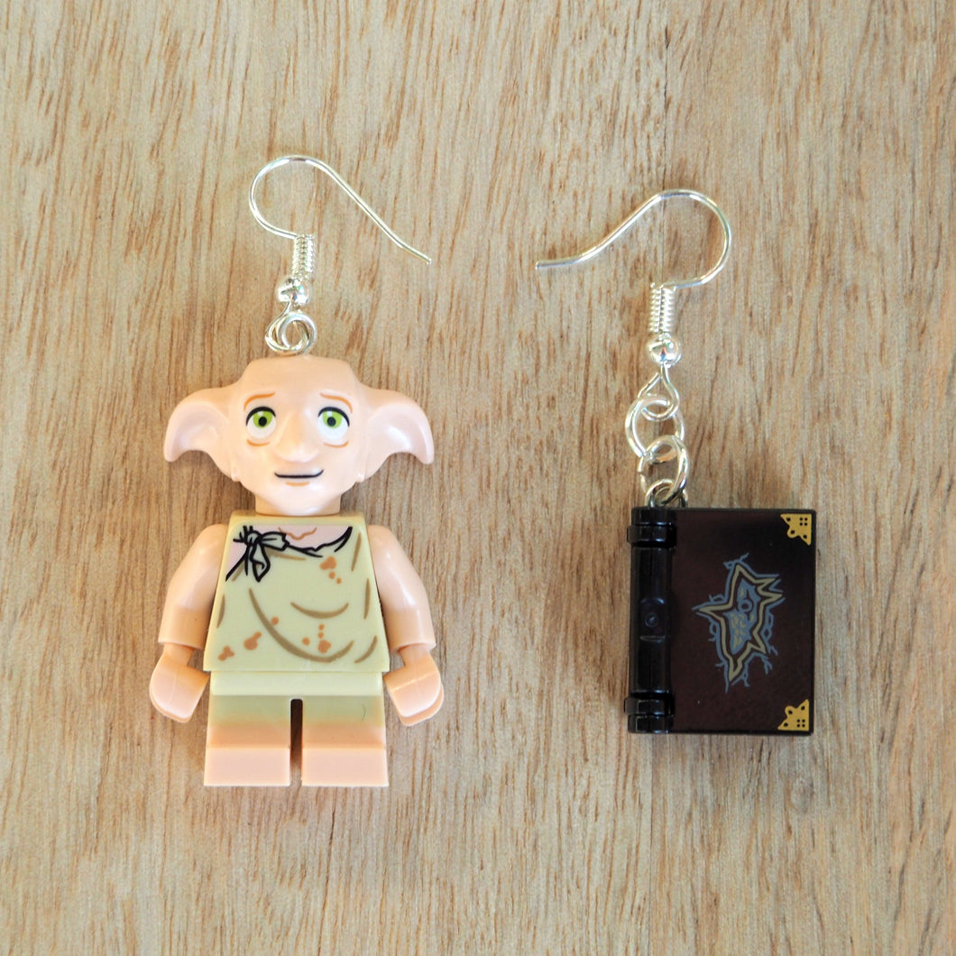 House elf & book earrings