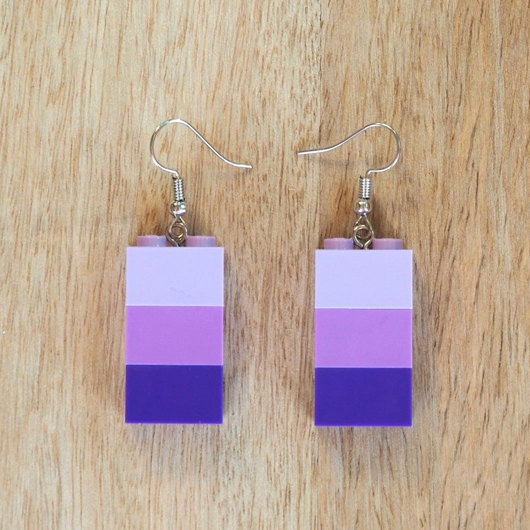 Shades of Purple brick earrings