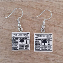 "Load image into Gallery viewer, ""The LEGO News"" Newspaper tile earrings"