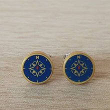 Load image into Gallery viewer, Nautical compass stud earrings