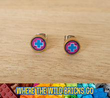 Load image into Gallery viewer, Gold with Blue Cross stud earrings