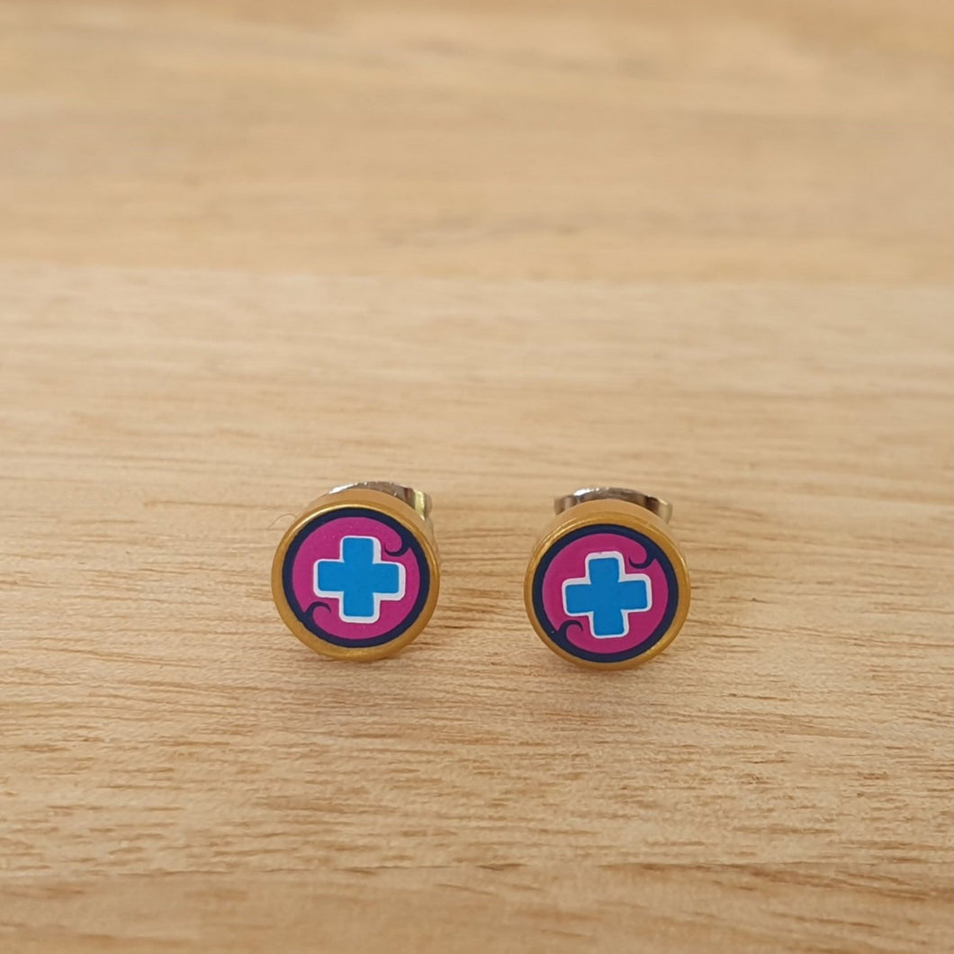 Gold with Blue Cross stud earrings
