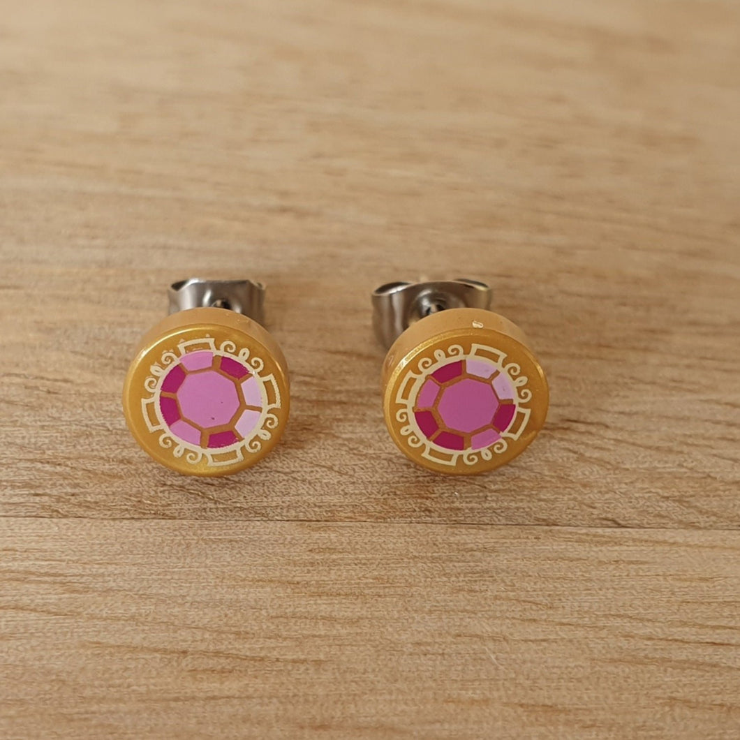 Gold with Jewel stud earrings