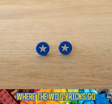 Load image into Gallery viewer, Blue and White star stud earrings