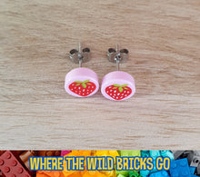 Load image into Gallery viewer, Strawberry tile stud earrings