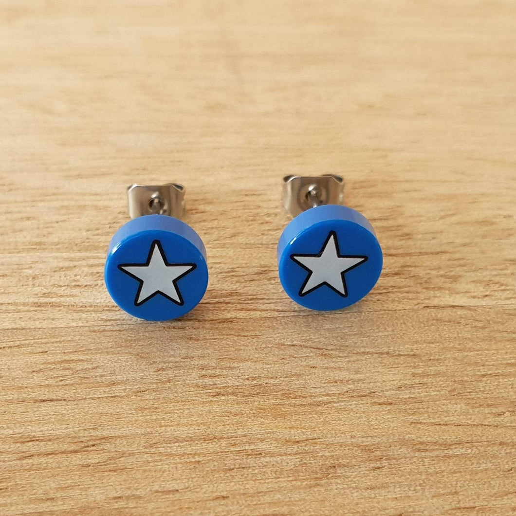 Blue and White star stud earrings