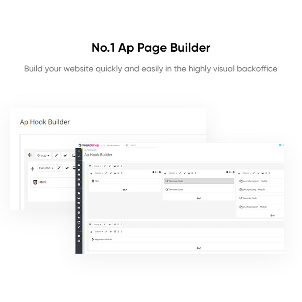 No.1 Ap Page Builder Build your website quickly and easily in the highly visual backoffice