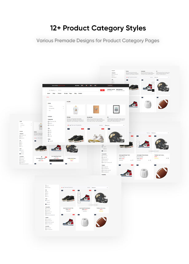12+ Product Category Styles Various Premade Designs for Product Category Pages