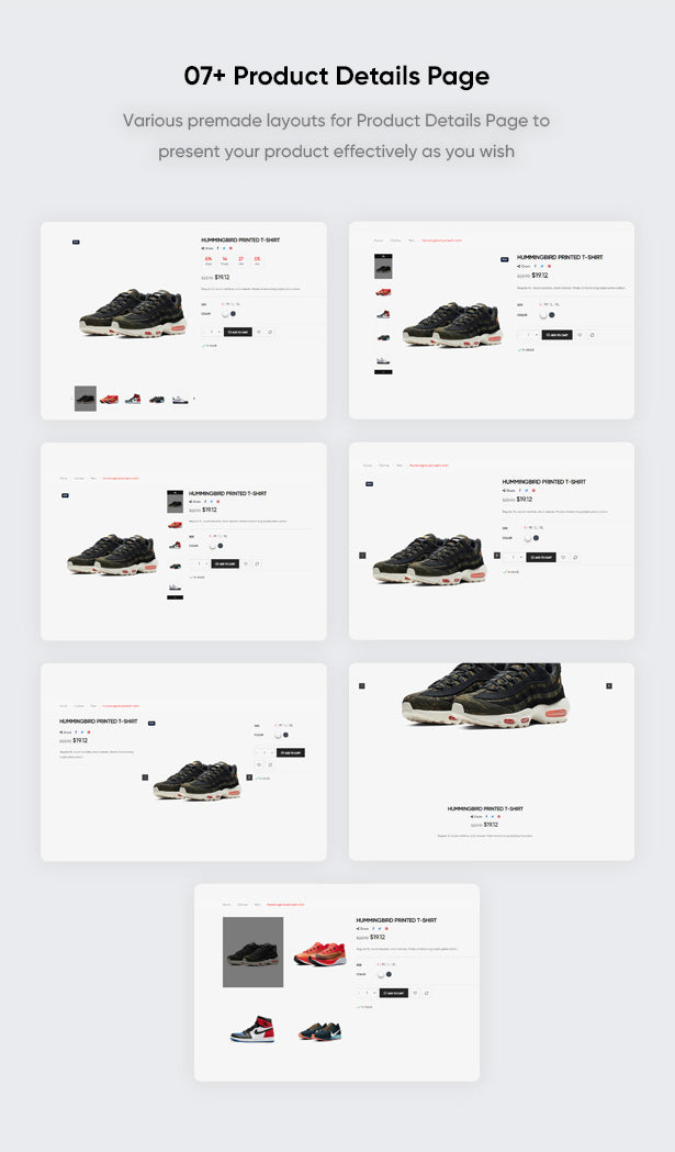 07+ Product Details Page Various premade layouts for Product Details Page to present your product effectively as you wish