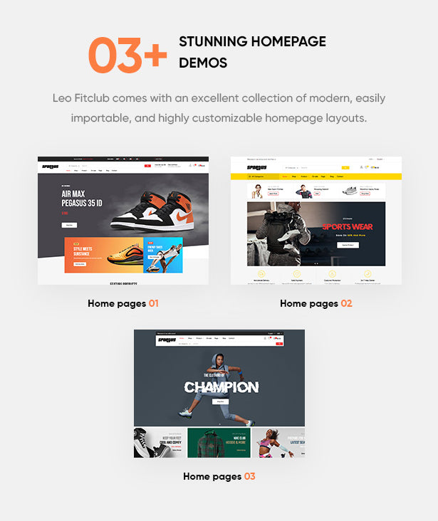 03+ Stunning Sporty Homepages Leo Fitclub comes with an excellent collection of modern, easily importable, and highly customizable homepage layouts