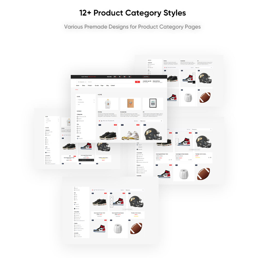12+ Product Category StylesVarious Premade Designs for Product Category Pages