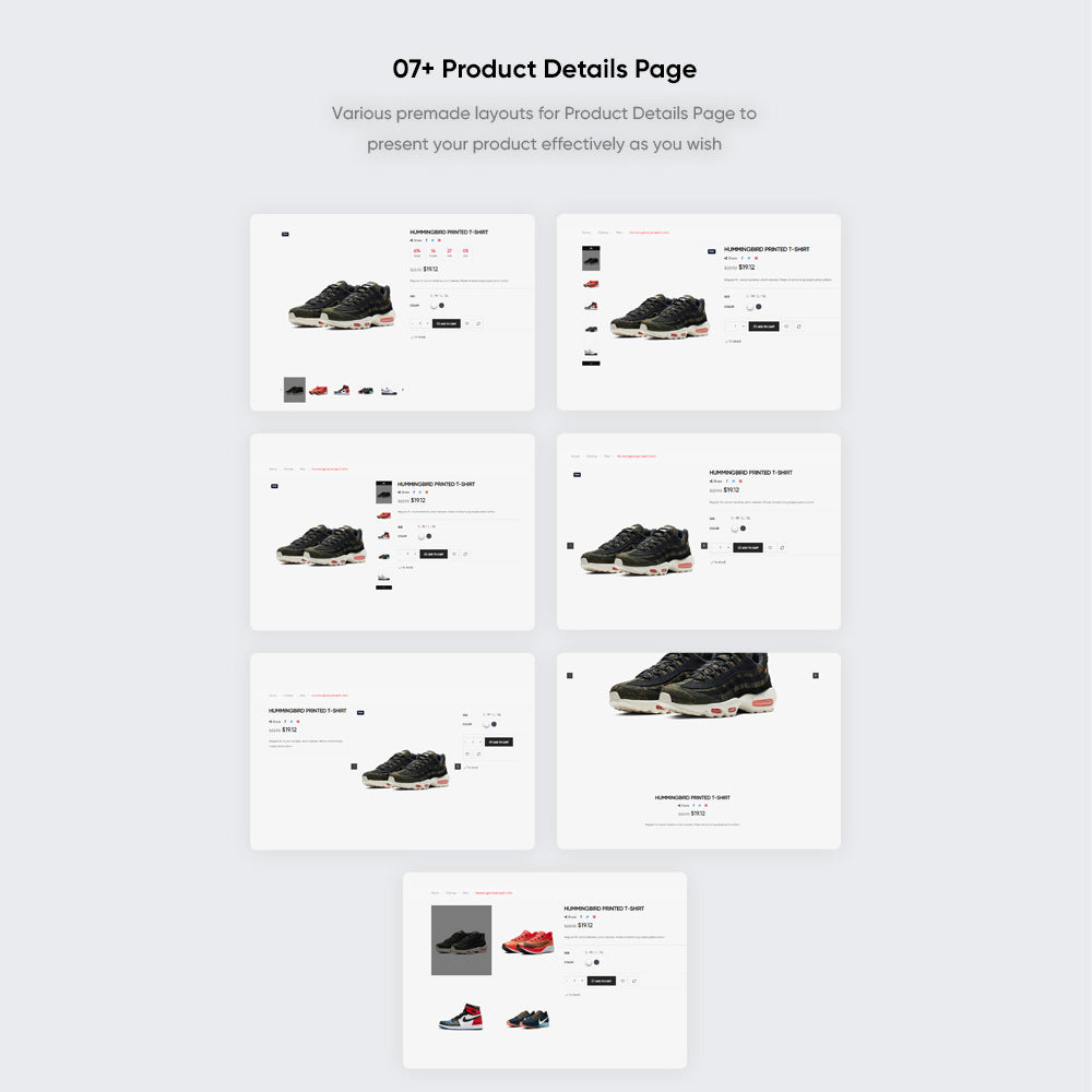 07+ Product Details PageVarious premade layouts for Product Details Page to present your product effectively as you wish