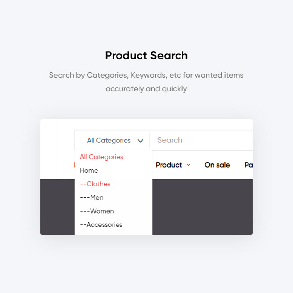 Product SearchSearch by Categories, Keywords, etc for wanted items accurately and quickly
