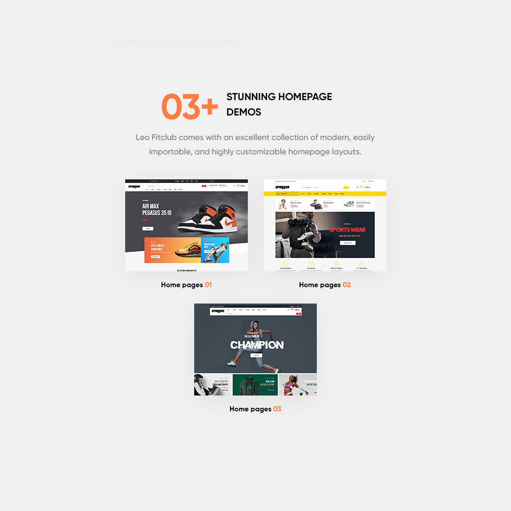 03+ Stunning Sporty HomepagesLeo Fitclub comes with an excellent collection of modern, easily importable, and highly customizable homepage layouts