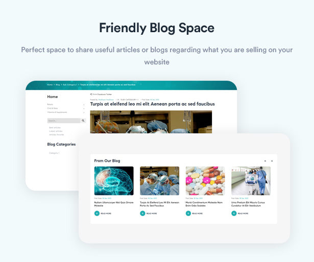 Friendly Blog Space Perfect space to share useful articles or blogs regarding what you are selling on your website