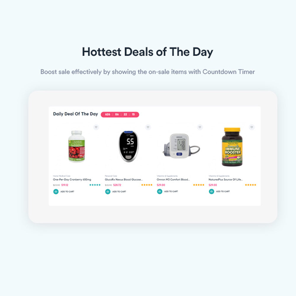 Hottest Deals of The DayBoost sale effectively by showing the on-sale items with Countdown Timer