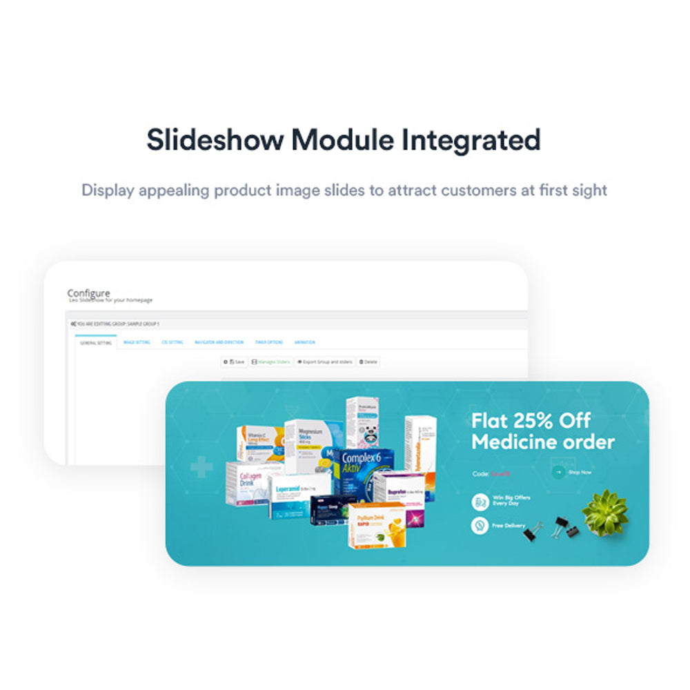 Slideshow Module IntegratedDisplay appealing product image slides to attract customers at first sight
