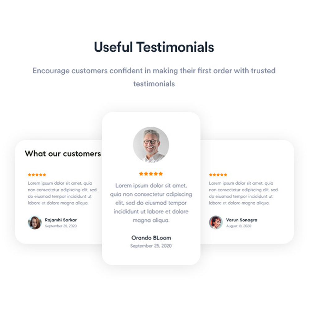 Useful TestimonialsEncourage customers confident in making their first order with trusted testimonials