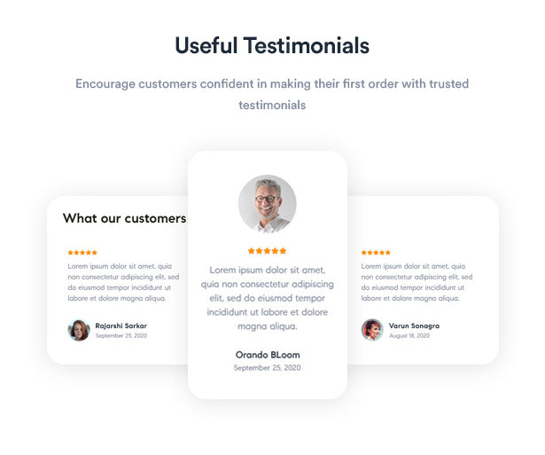Useful Testimonials Encourage customers confident in making their first order with trusted testimonials