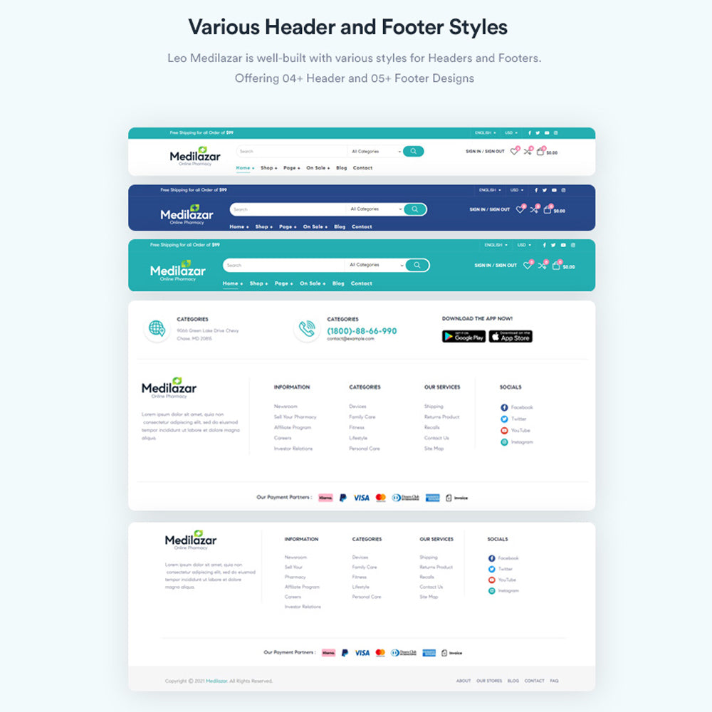 Various Header and Footer Styles
