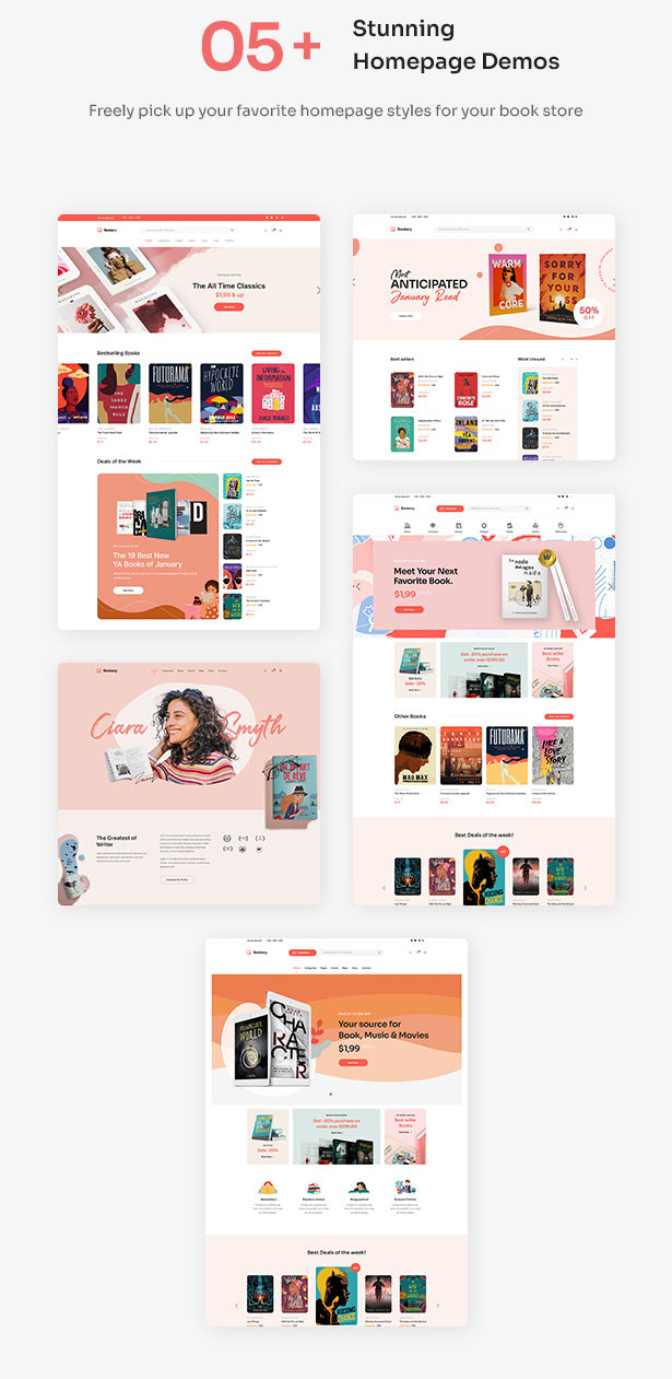 05+ stunning homepage demos Freely pick up your favorite homepage styles for your book store
