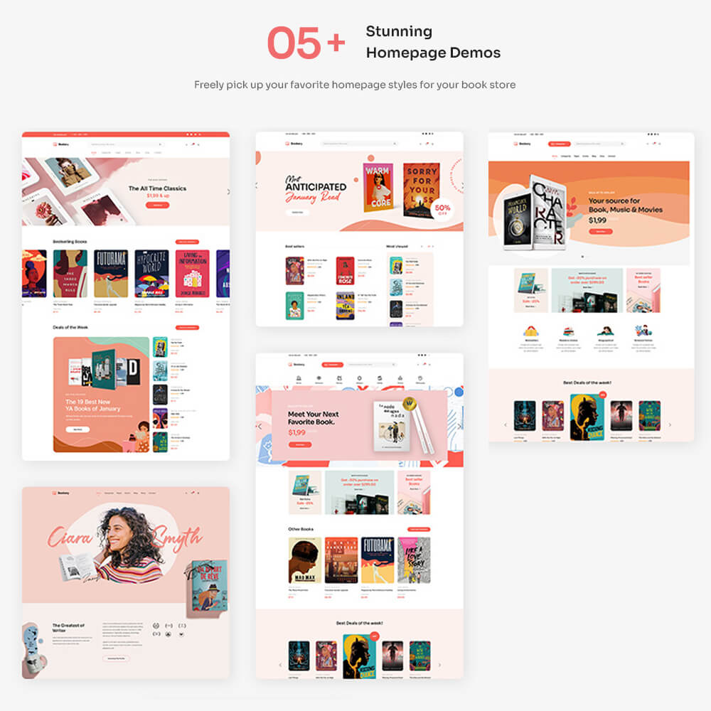 05+ stunning homepage demosFreely pick up your favorite homepage styles for your book store