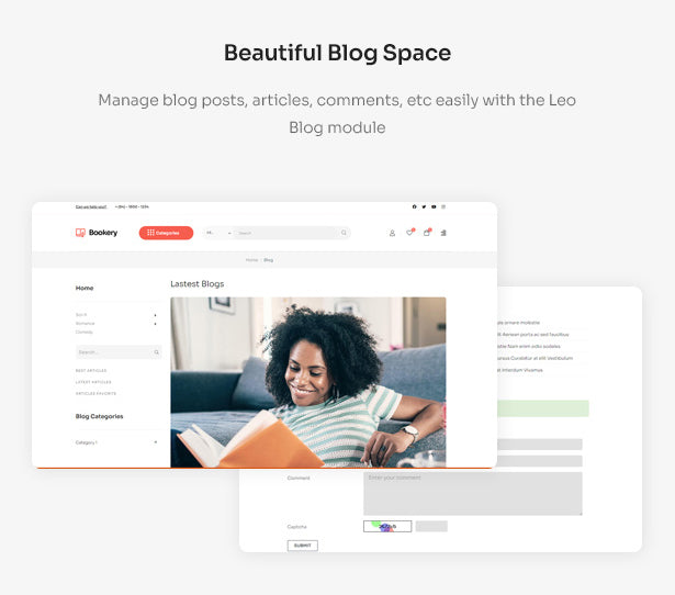 Beautiful Blog Space Manage blog posts, articles, comments, etc easily with the Leo Blog module
