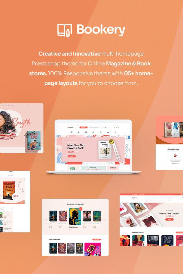 LEO BOOKERY Creative and Innovative multi homepage Prestashop theme for Online Magazine & Book stores. 100% Responsive theme with 05+ homepage layouts for you to choose from.