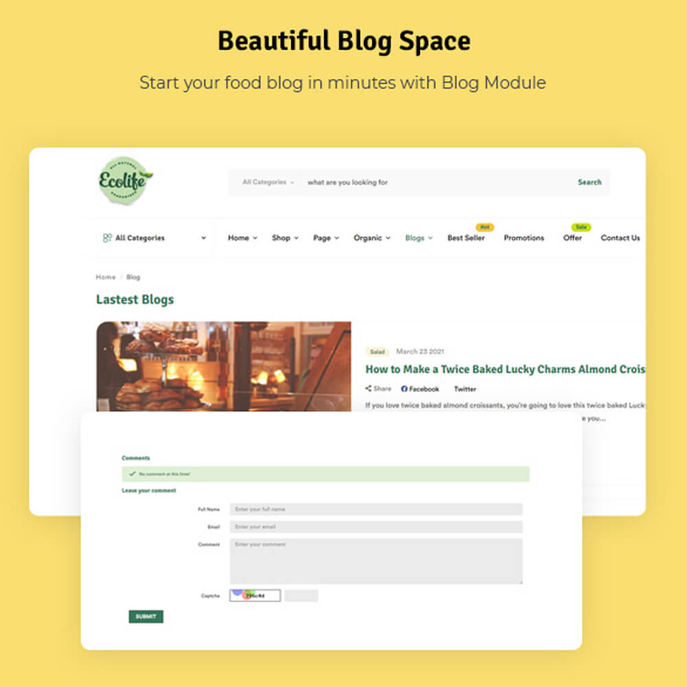 Beautiful Blog Space Start your food blog in minutes with Blog Module