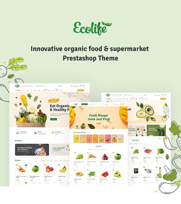 LEO FOODVEGAN All-in-one innovative Prestashop Theme for Organic food store. Beautiful design and top-notch website functionalities