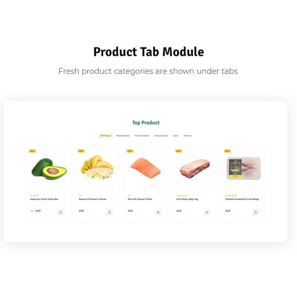 Product Tab Module Fresh product categories are shown under tabs