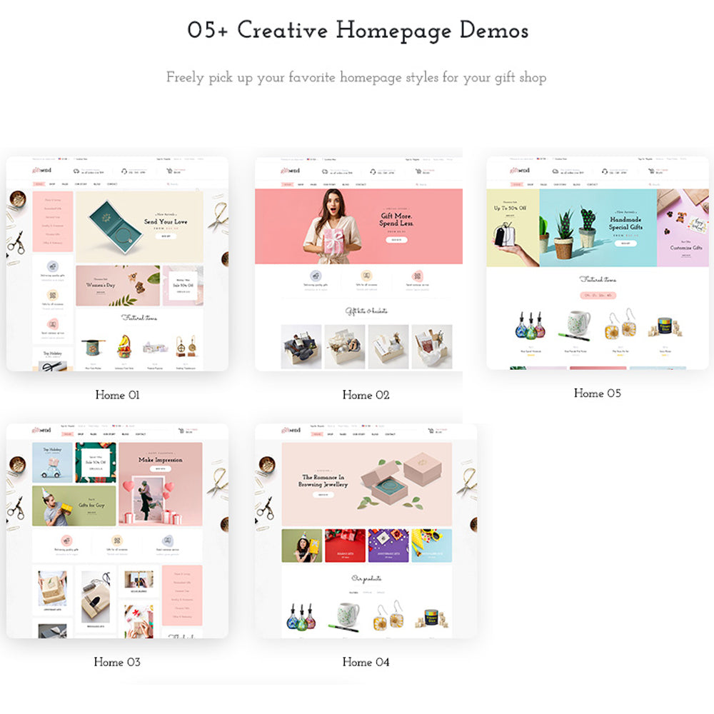05+ creative homepage demos Freely pick up your favorite homepage styles for your gift shop