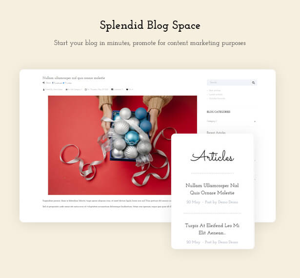 Splendid Blog Space Start your blog in minutes, promote for content marketing purposes