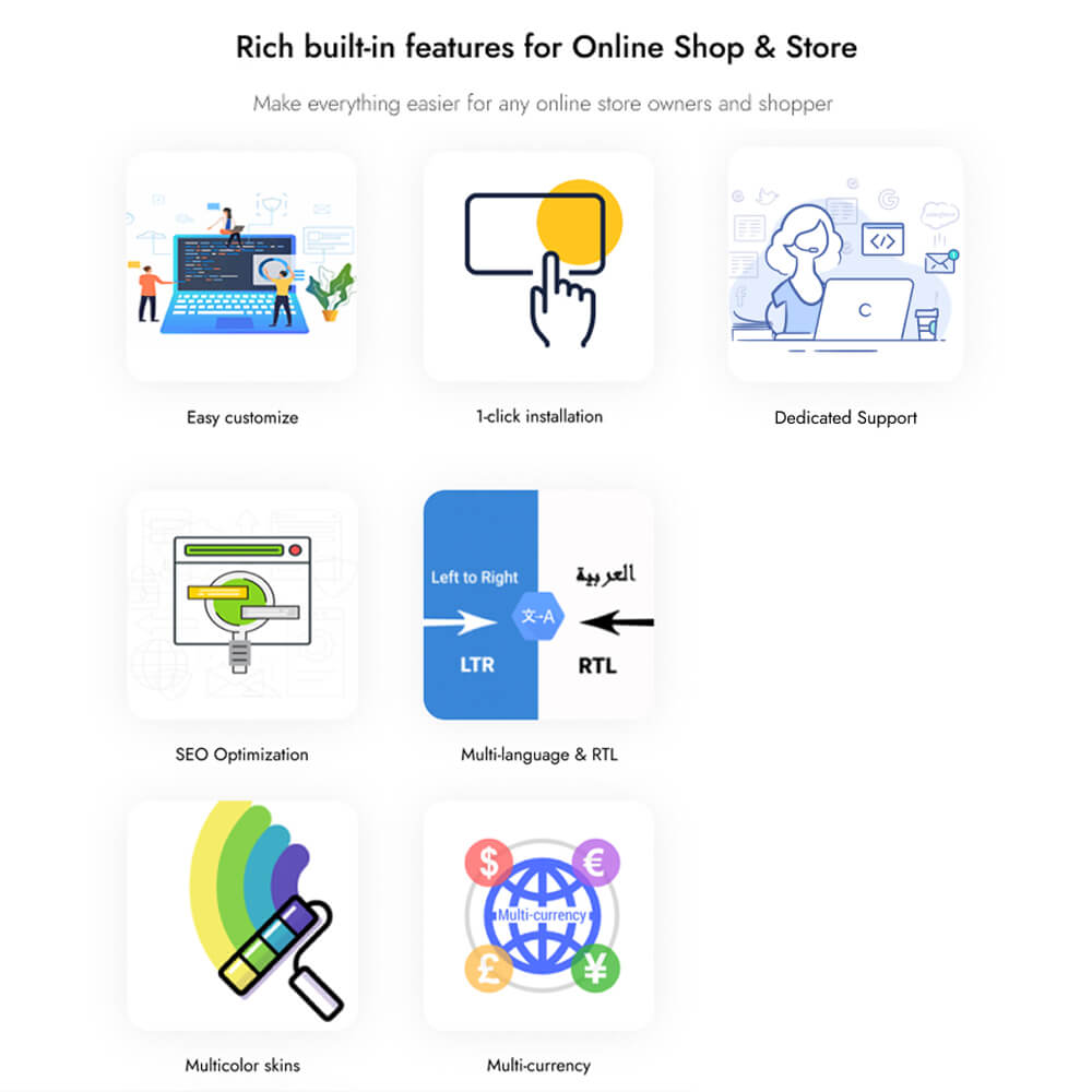 Rich built-in features for Online Shop & Store