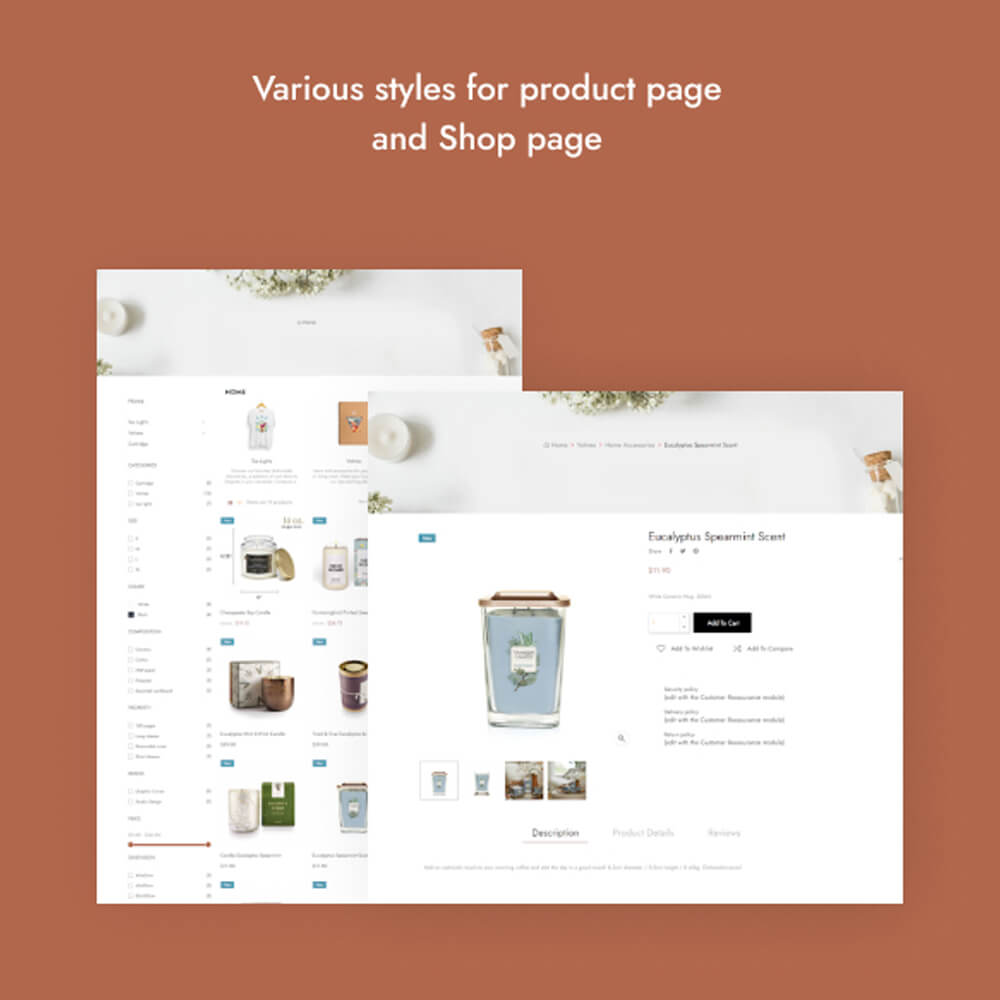 Various styles for product page and Shop page