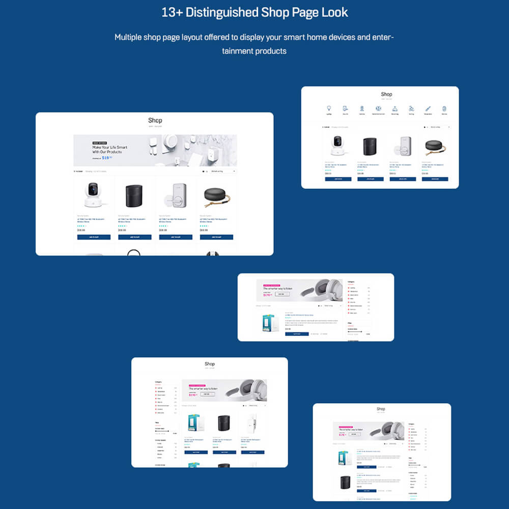 13+ Distinguished Shop Page LookMultiple shop page layout offered to display your smart home devices and entertainment products