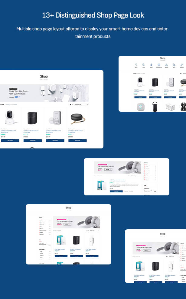 13+ Distinguished Shop Page Look Multiple shop page layout offered to display your smart home devices and entertainment products