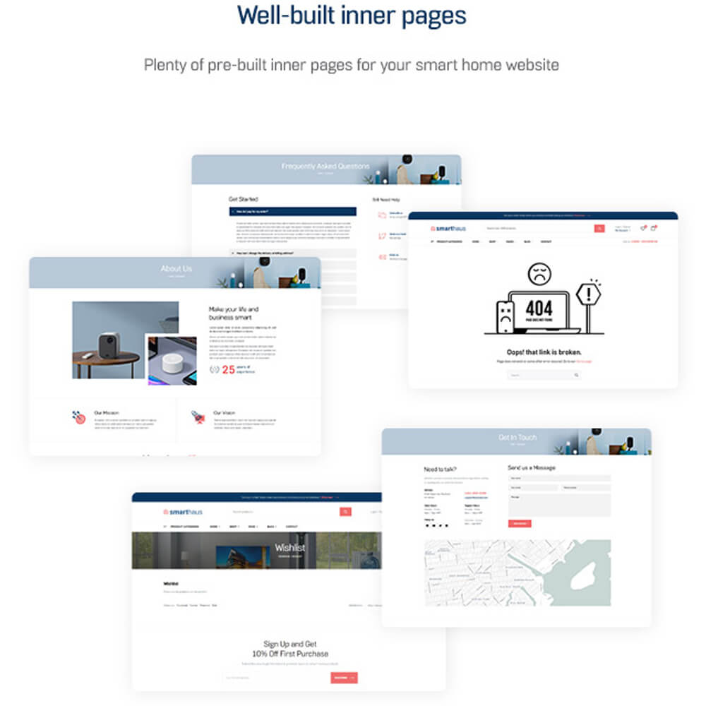 Well-built inner pages Plenty of pre-built inner pages for your smart home website