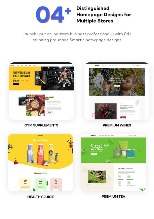 04+ Awesome Shop Demos Launch your online store business professionally with 04+ stunning pre-made Smartic homepage designs