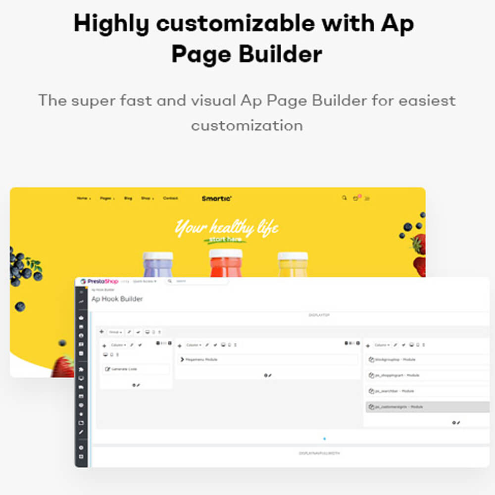Highly customizable with Ap Page BuilderThe super fast and visual Ap Page Builder for easiest customization